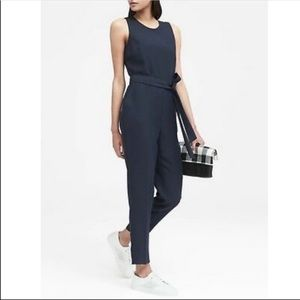 Banana Republic Belted Jumpsuit In Navy Like New